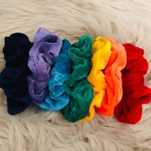 NWOT rainbow set of velvet soft scrunchies